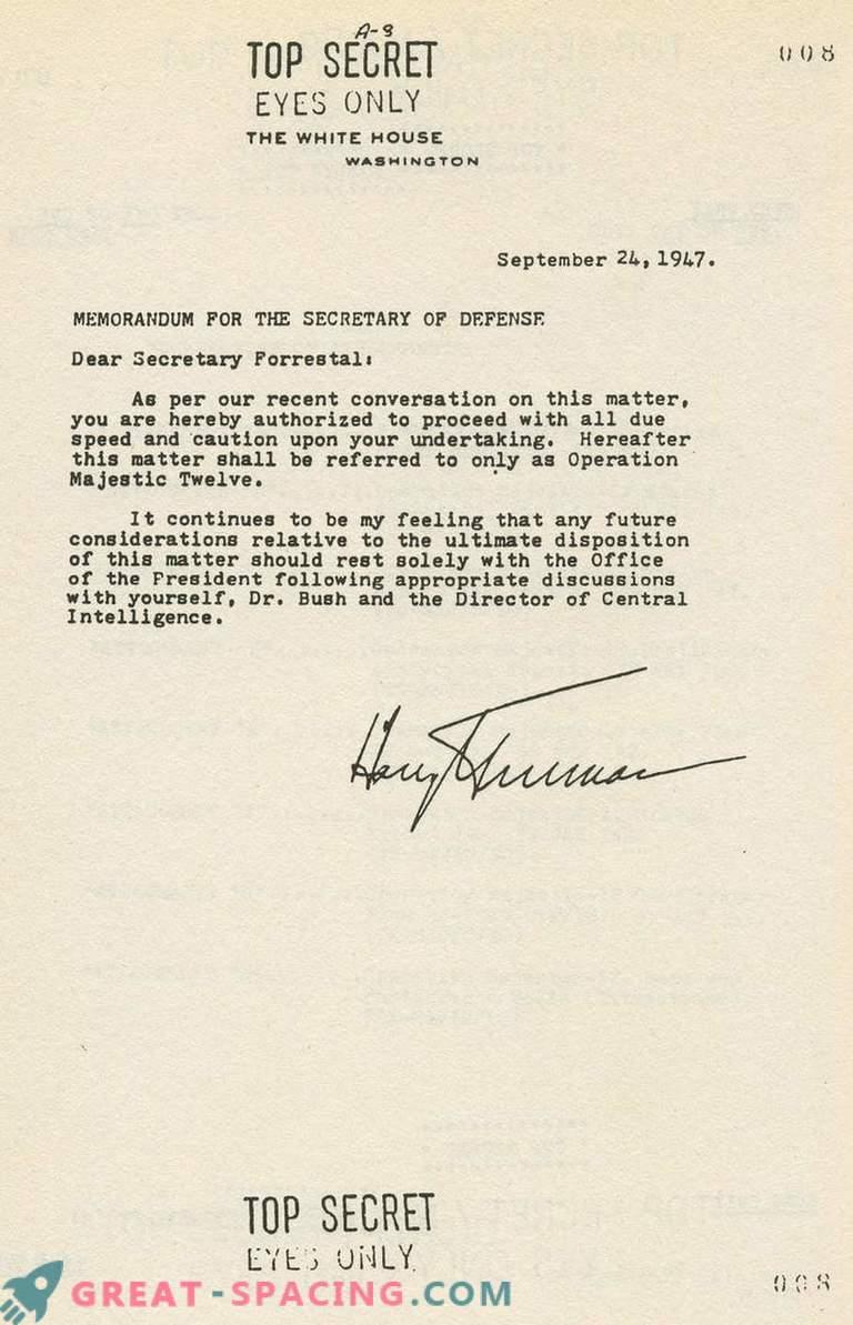 Kas 1952. aasta dokument kinnitab salajase rühma olemasolu tundmatute objektide uurimiseks